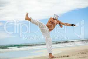 man is jumping sport karate martial arts fight kick