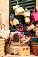 handmade colorful straw handbags on market sale summer