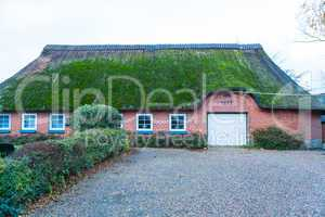 Residential house with a green mossy thatch roof