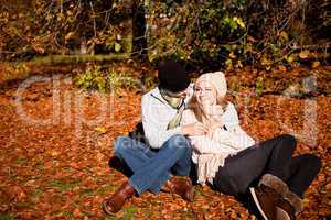 happy young couple smilin in autumn outdoor