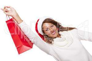 Happy vivacious Christmas shopper