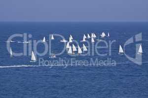 sailboat sport regatta on blue water ocean summer