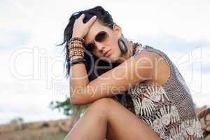 Beautiful stylish woman wearing sunglasses