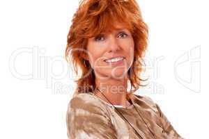 happy adult woman with red hair and big smile portrait