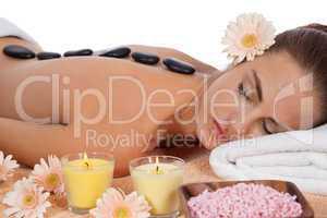 attractive healthy caucasian woman hot stone massage wellness