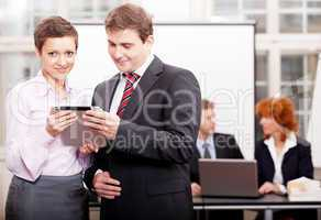 business team with tablet cellphone computer