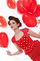 Beautiful retro woman celebrating Valentines