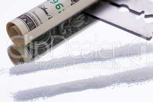 cocaine lines on mirror with razor blade drugs objects