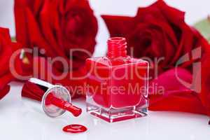 Elegant red nail varnish in a stylish bottle