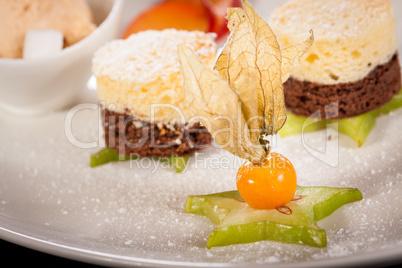 Gourmet coffee blanc mange with gooseberry