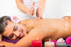 Beautiful woman having a back massage