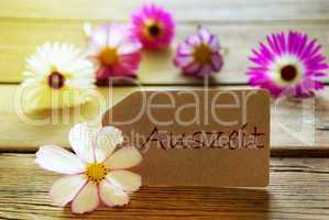 Sunny Label With German Text Auszeit With Cosmea Blossoms