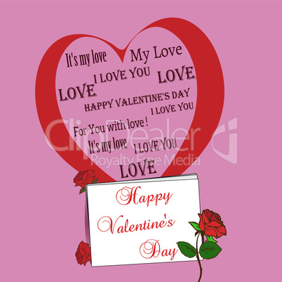 pink background with big heart and roses valentine