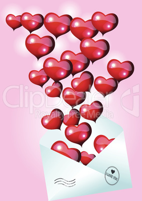 Valentines Day Card with Envelope and Heart. Set 8