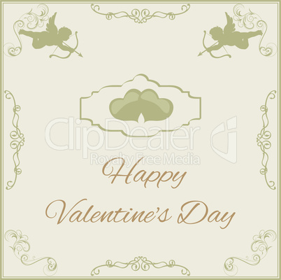 greeting card for Valentine's Day in vintage style with cupids and greeting text Vector