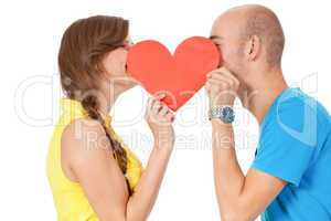 happy young couple in love with red heart valentines day