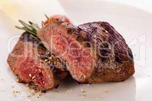 Succulent medium rare beef steak