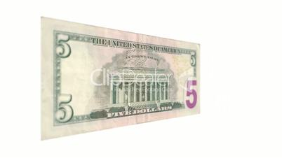 Five American Dollar Bill Rotating