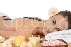 attractive helathy caucasian woman hot stone massage wellness