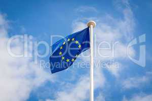 The fluttering flag of European Union on a pole