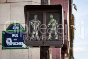 Pedestrian traffic lights at an intersection