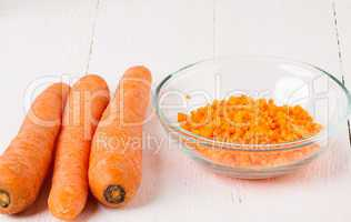 Finely diced fresh carrots