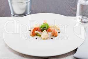 grilled shrimps with potato and kohlrabi puree