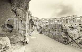 Interior architecture of Colosseum ruins, Rome - Italy