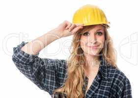 Freundlicher Handwerker mit Helm