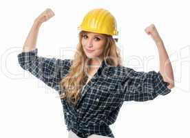 Handwerker ballt die Hände zu Fäusten