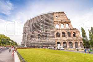 Facade of Colosseum in Rome with maintenance works