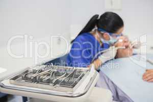 View of tray of dental equipment
