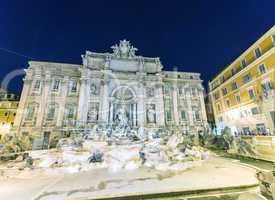 Beautiful night lights of empty Trevi fountain, Rome