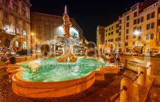 Piazza del Tritone with fountain. Rome at night