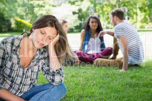 Lonely student feeling excluded on campus