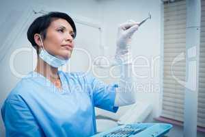 Female dentist holding dental tool