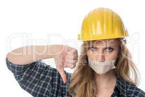 Frustrierter weiblicher Handwerker