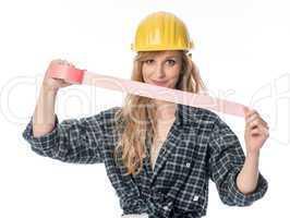 Handwerker mit Klebeband