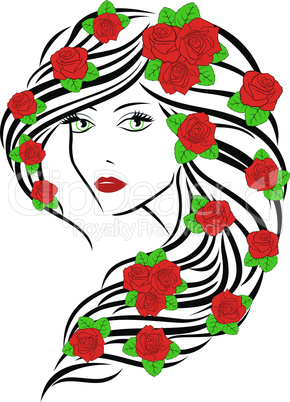 Fashionable women with roses on hair