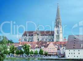 Beautiful medieval architecture of Regensburg, Germany