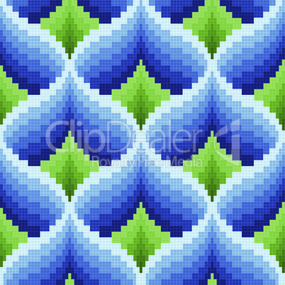 Blue and green ornamental seamless pattern