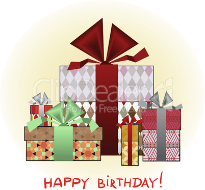 Greeting card with birthday present boxes
