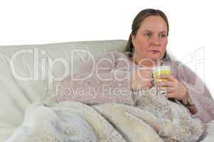 Frau ist erkältet