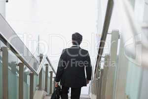 Indian businessman descending steps