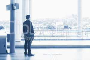 Indian business man waiting bus