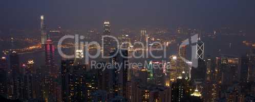 Hong Kong cityscape lit up at night