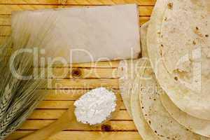 Flour in spoon wheat ears