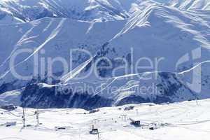 Top view on ski slope