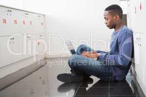 University student using laptop