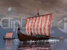 Drakkars or viking ships - 3D render